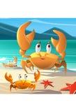 Illustration einer Gruppe Krabben an der Küste stockfoto