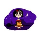 Illustration einer Hexe auf Halloween Lizenzfreies Stockbild