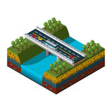 Illustration einer isometrischen Brücke über dem Fluss Stockbild