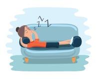 Illustration einer Jugendlichen, die auf die Couch beim Studieren einschlief Stockfotos