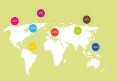 Illustration einer Karte der Welt Weltkarte mit Markierungen stockfotografie