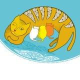 Illustration einer Katze mit Kätzchen auf dem Kissen Lizenzfreie Stockbilder