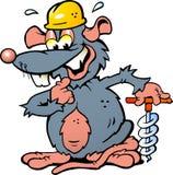 Illustration einer lächelnden Ratte, die ein Bohrgerät hält Lizenzfreie Stockfotografie
