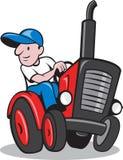 Landwirt, der Weinlese-Traktor-Karikatur fährt Lizenzfreies Stockbild