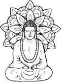 Illustration einer meditierenden Mandala Buddha Mandala im Stil des sentangle Wand der Straßen-Art stock abbildung