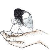 Hand, die eine Frau stützt Stockfoto