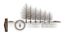 Illustration einer musikalischen Landschaft stockfotos