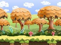Illustration einer Naturlandschaft, mit Pixelbäumen und grünen Hügeln, endloser Hintergrund des Vektors mit getrennten Schichten Lizenzfreies Stockfoto