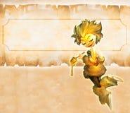 Illustration einer netten Karikaturbiene, die Honigschöpflöffel hält Stockbilder