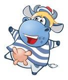 Illustration einer netten Kuh Hundekopf mit einem netten glücklichen und unverschämten Lächeln getrennt auf einem weißen Hintergr Stock Abbildung