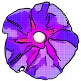 Illustration einer purpurroten Blume mit einem Halbtonmuster Lizenzfreie Stockfotografie