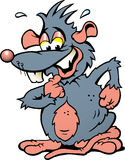 Illustration einer Ratte mit einem großen erschrockenen Lächeln Stockbilder