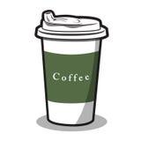 Illustration einer Schale und des heißen Kaffees Lizenzfreies Stockfoto