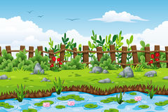 Illustration einer Sommerlandschaft Stockbilder