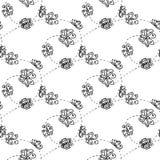 Illustration einer Spirale mit Schmetterlingen Nahtloses Muster Stockfoto