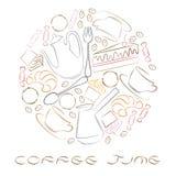 Illustration einer Uhr mit Kaffeeelementen Lizenzfreies Stockfoto