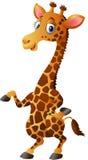 Illustration einer wellenartig bewegenden Hand der netten Giraffe der Karikatur Stockfoto