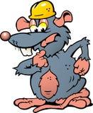 Illustration einer wundernden Ratte mit Sturzhelm Lizenzfreies Stockbild