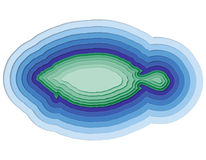 Illustration eines überlagerten Fisches im Ozean Stockfoto