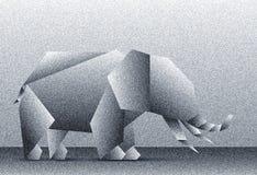 Illustration eines abstrakten niedrigen polygonalen Elefanten mit Geräuscheffekt Stockbild