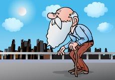 Alter Mann mit Stock Stockbilder