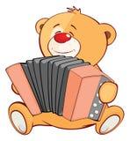 Illustration eines angefüllten Toy Bear Cub Accordionist Cartoon-Charakters stock abbildung