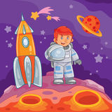 Illustration eines Astronauten des kleinen Jungen Lizenzfreie Stockfotos