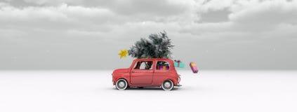 Illustration eines Autos mit einem Weihnachtsbaum Stockfotos