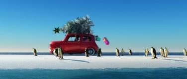 Illustration eines Autos mit einem Weihnachtsbaum stockfotografie