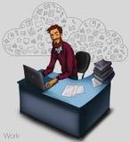 Illustration eines Büroangestellten, der Tablettenschirm für Darstellungsanwendungen zeigt Stockbilder