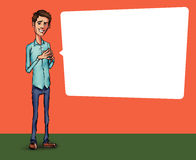 Illustration eines Büroangestellten, der Tablettenschirm für Darstellungsanwendungen zeigt Stockbild