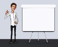 Illustration eines Büroangestellten, der Tablettenschirm für Darstellungsanwendungen zeigt Stockfotos