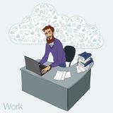 Illustration eines Büroangestellten, der Tablettenschirm für Darstellungsanwendungen zeigt Stockfoto