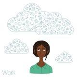 Illustration eines Büroangestellten, der Tablettenschirm für Darstellungsanwendungen zeigt Stockfotografie