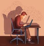 Illustration eines Büroangestellten, der Tablettenschirm für Darstellungsanwendungen zeigt Lizenzfreie Stockfotografie