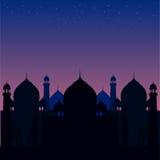 Illustration eines blauen religiösen Hintergrunds mit Moschee Stockbild