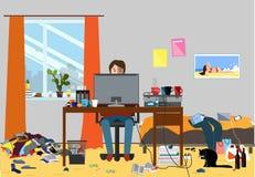 Illustration eines durcheinandergebrachten Raumes verunreinigt mit Stücken Abfall Raum wo Junge I T Kerl-, Bachelur- oder Student lizenzfreie abbildung