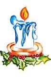 Illustration eines einzelnen brennenden Kerzengeburtstages Lizenzfreie Stockbilder