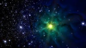 Illustration eines erfundenen Sternfeldes, der Nebelflecke, der Sonne und des galaxi Stockfoto
