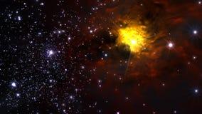 Illustration eines erfundenen Sternfeldes, der Nebelflecke, der Sonne und des galaxi Stockfotografie