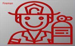 Illustration eines Feuerwehrmannes lizenzfreie abbildung