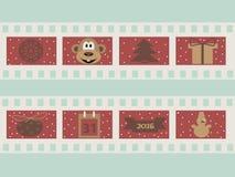 Illustration eines Filmstreifens mit Weihnachtssymbolattributen Stockbilder