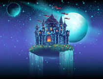 Illustration eines Fliegenschlossraumes mit Wasserfällen auf dem Hintergrund von Sternen und von Planeten lizenzfreie abbildung
