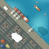 Illustration eines Frachthafens in der flachen Art oberseite Lizenzfreies Stockfoto