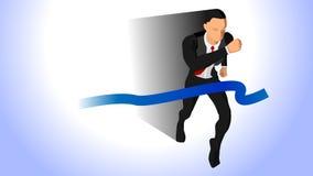 Illustration eines Geschäftsmannes, der hinter die Ziellinie läuft ENV 10 lizenzfreie abbildung