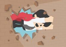 Illustration eines Geschäftsmannes, der t die Wand bricht Geschäft conc Lizenzfreies Stockfoto