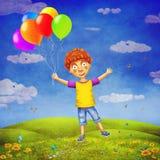 Illustration eines glücklichen Jungen mit Ballonen auf Lichtung Lizenzfreie Stockfotografie
