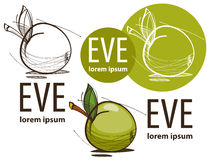 Illustration eines grünen Apfels auf weißem Hintergrund Stockfotos