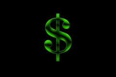 Illustration eines grünen Dollar-Zeichens auf schwarzem Hintergrund Lizenzfreie Stockfotos