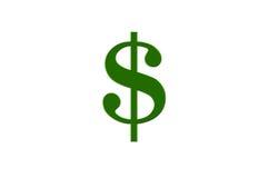Illustration eines grünen Dollar-Zeichens auf weißem Hintergrund Lizenzfreie Stockfotos